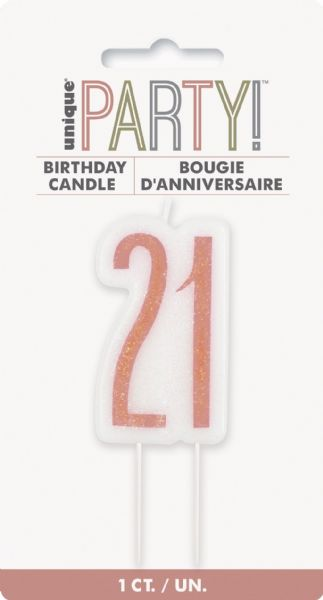 Glitz Rose Gold Age 21 Candle